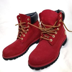 Timberland Genuine Leather, Men 9, Women 10, Red